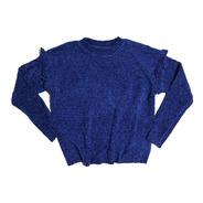 Sweater Mujer Tejido Azul Con Volados Talle U (85-95)
