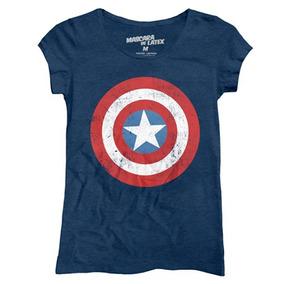 Playera Película Marvel Capitán América Logo Mujer