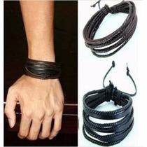 Pulseira Bracelete Masculina Feminina Couro Legítimo