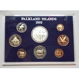 Malvinas 1982 Proof Set X 8 Falkland Islands Plata Km Ps5