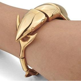 Bracelete Tubarão Pulseira Banhada A Ouro 18 K