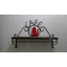 Prateleira Rústica Café Em Ferro/madeira +porta Papel Toalha
