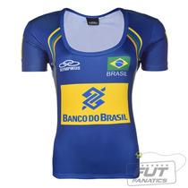 Camisa Olympikus Brasil Vôlei Cbv 2014 Feminina Azul + Nf