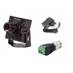 Mini Câmera Tecvoz + Conector Bnc C/ Borne + Fonte