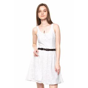 Vestido Corto Blanco De Encaje Con Cinturon Envio Gratis!