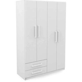 Guarda-roupa Diversão 4 Portas E 2 Gavetas - Rodial Branco