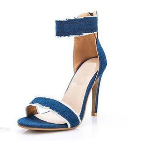 Sandálias Feminina Verão Jeans Salto Alto Barata Brinde