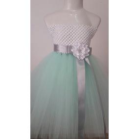 Vestido Tutu Tul Para Niña Talla 2 A 6 Color Menta
