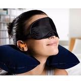 Kit Viagem Travesseiro Pescoço + Máscara + Protetor Ouvido