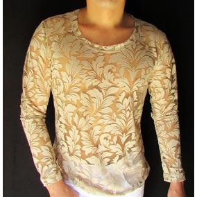 Camisetas Masculinas Blusa Transparente Devorê Bege