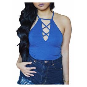 Crop Top Blusas Camiseta Sexy Espalda Dama Moda 44