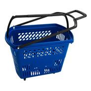 Kit 3un Cesta Cestinha Supermercado Mercado Rodas Rodinha