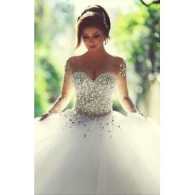 Vestido Noiva Princesa Luxo Cristais E Brilhante Importados