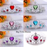 Coroa De Princesa Plástico Prata C Pedras Varias Cores