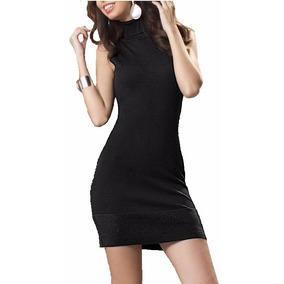 Vestido Negro Andrea Silueta Ajustada Cuello Tortuga 1259452