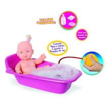 Boneca Mini Banho Faz Espuma De Verdade Brinquedo Menina
