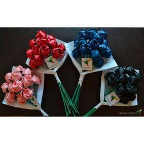 Ramo 12 Rosas De Papel.novios Bodas Casamiento* Origami Deco