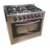 Cocina 6 Hornallas 90 Cm Fornax Acero Inox. Horno Visor!