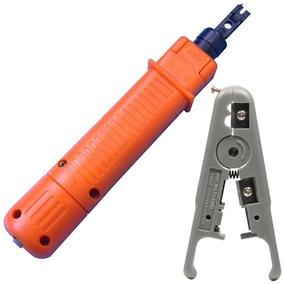 Kit Alicate Punch Down + Descascador Fio Cabo Rede Coaxial