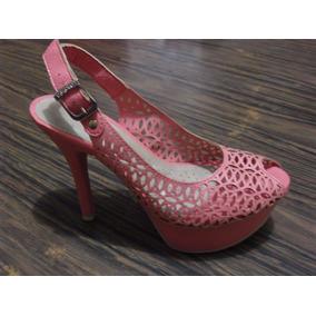 Sandalias Azaleia Zapatos Plataforma Damas- Coral Talla 5