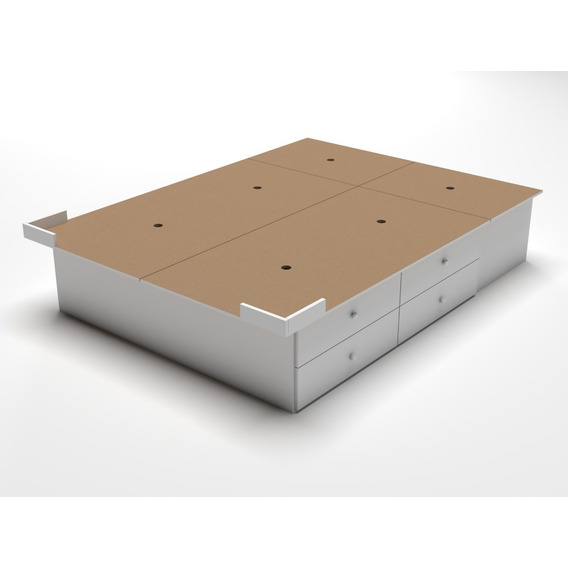 Base Sommier Box Queen Size 8 Cajones Y 2 Baulera Somier