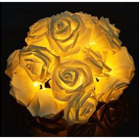 Cordão Flor 20 Rosas Led Branco Quente A Pilha Varal