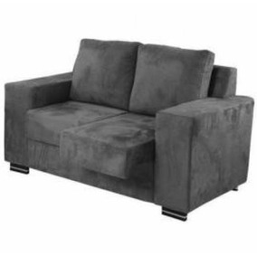 Sofá Retrátil 2 Lugares Almofadas Solta Tecido Suede Luxuoso