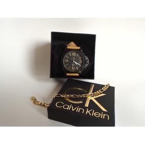 Kit Relógio Ck Masculino Caramelo + Correntinha + Óculos