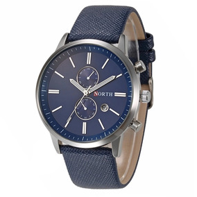 Relógio North Masculino Luxo Com Pulseira Couro Legítimo
