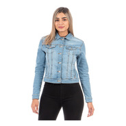 Chamarra De Mezclilla Stretch Ajustable Para Dama Azul Medio