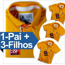 Kit 1 Pai E 3 Filhos Iguais, Camisa Polo Qualidade De Import