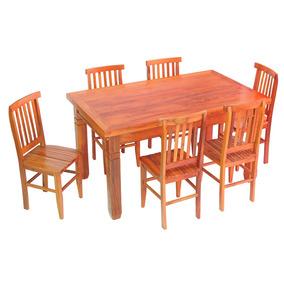 Conjunto Mesa De Jantar Madeira Demolição 1,5m E 6 Cadeiras