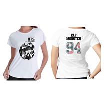 Camiseta Kpop Personalizada Banda Grupo Bts Com Nome Floral