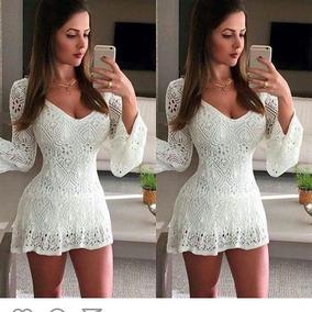 Vestido Curto Feminino Linha Trico Croche - Atacado E Varejo