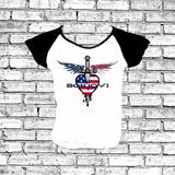 Baby Look Bon Jovi Americano Bandeira Asas