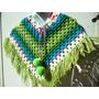 Poncho Tejido Al Crochet Niño- Niña