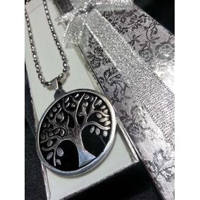 Medalla Arbol De La Vida Grande+cadena+caja Acero Quirurgico