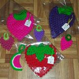 Agarraderas Y Adornos Tejidos A Crochet Frutas Mandalas
