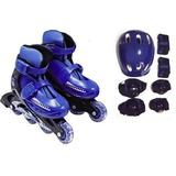 Kit Radical Patins Roller Bolsa Acessorios Azul 30 -33
