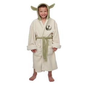 Roupão Infantil Star Wars Yoda Robe Jedi Banho C Capuz No Br