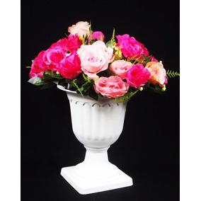 Vaso Grande + Rosas Artificiais Arranjo Romano Flores Pronto