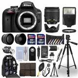 Cámara Nikon D3400 + Lente 18-55mm + Kit 24 Acc.