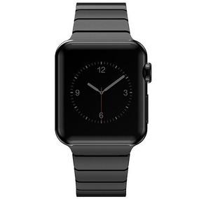 23208d872ed Pulseira Cor Preta Em Aço Inox Para Relógio Apple Watch 42mm ...