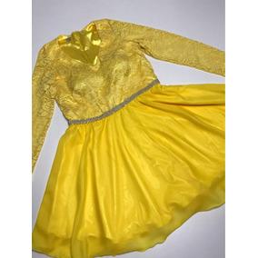 Vestido Feminino Festa Rodado Renda Amarelo Tam M