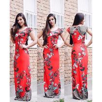 Vestido Longo Manguinha Viscolycra Tendencia Moda Blogueira