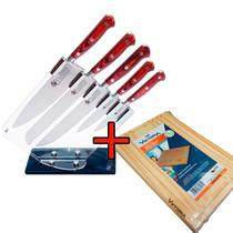 Juego Set Cuchillos Cocina Cepo Acrílico 5pzs Trento + Tabla