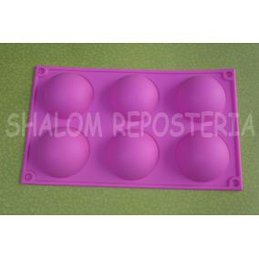 * Molde Silicon 6 Media Esferas Grandes Gelatina Choco Jabon