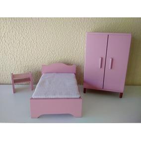Quarto Para Casa De Boneca 3 Pcs Rosa Mdf - Frete Grátis