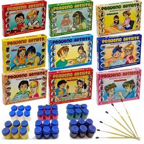 30 Caixa Molde Figura Gesso Brinquedo Guache Pincel Sortidos