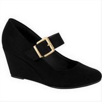 Sapato Feminino Preto Boneca Salto Baixo Medio Social